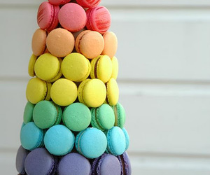 food, rainbow, and macaroons image