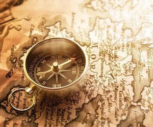 map, compass, and travel image