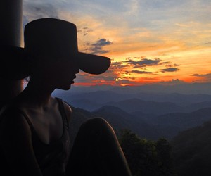 girl, sunset, and hat image