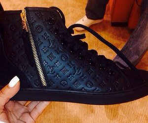 shoes, black, and Louis Vuitton image