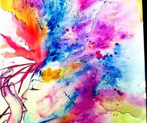 art, watercolor, and brain image