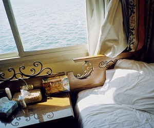 bed, sea, and room image