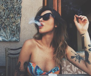 girl, tattoo, and smoke image