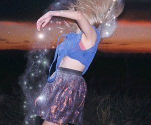 girl, stars, and galaxy image