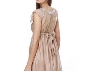 dress, taupe, and lace image