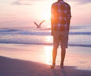 alone, beach, and sun image