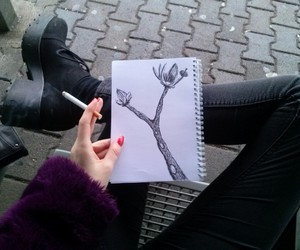 grunge, cigarette, and drawing image