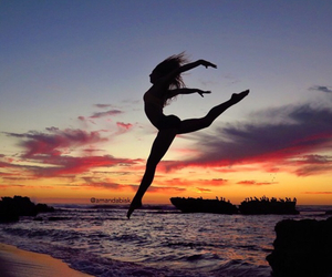 beautiful, jump, and evening image