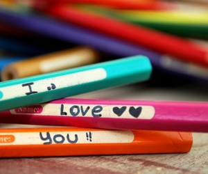 love, pencil, and I Love You image