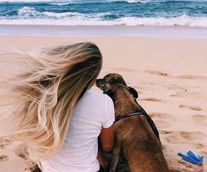 girl, dog, and beach image