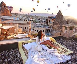 dreams, girl, and hot air balloons image