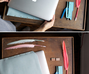 blue, laptop, and leather image
