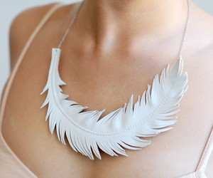 white, feather, and necklace image