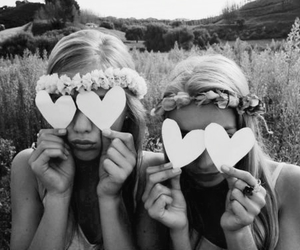 girl, friends, and heart image