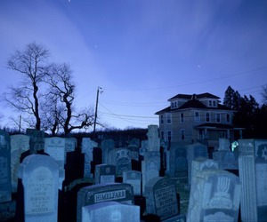 cemetery, blue, and sky image