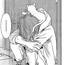 cat, manga, and boy image