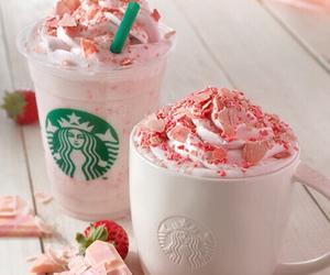 starbucks, pink, and strawberry image
