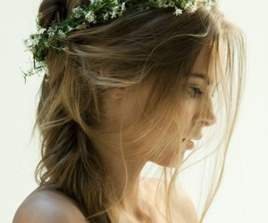 beauty, love, and flowers in her hair image
