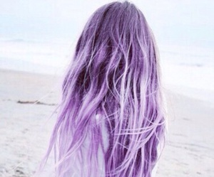 hair, purple, and beach image