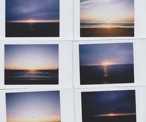 sunset, photography, and polaroid image
