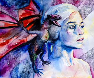 game of thrones, dragon, and watercolor image