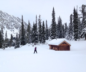 cabin, mountain, and snow image