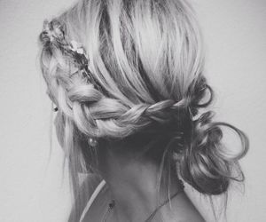 black and white, hair, and blonde image