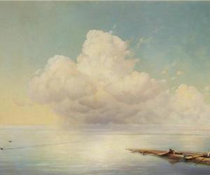 clouds, painting, and sea image