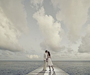 clouds, water, and wedding image