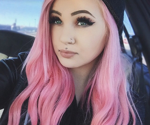 pink, hair, and Piercings image