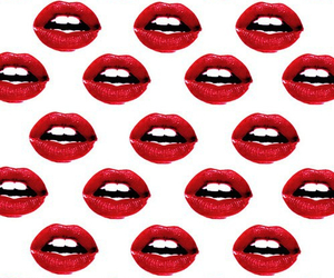 red, lips, and wallpaper image