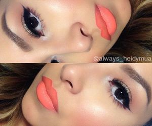 makeup, lips, and coral image