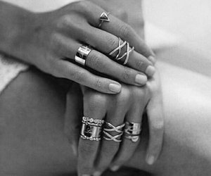black and white, ring, and rings image