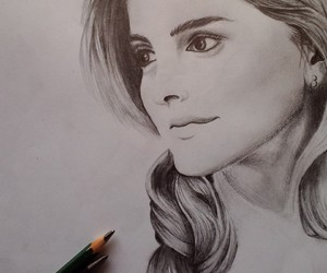 art, drawing, and emma watson image