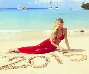 beach, bikini, and red image