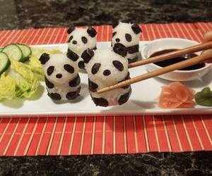 food, panda, and sushi image