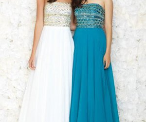 beaded, long, and formal prom dress image