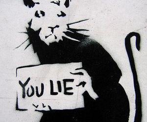 lies, BANKSY, and graffiti image