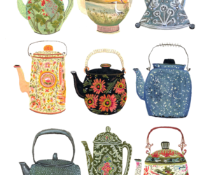 art, tea, and teapot image
