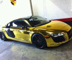 audi, car, and gold image