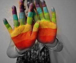 hands, rainbow, and colors image