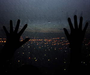 city, hands, and rain image