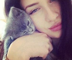 beauty, girl, and kitten image