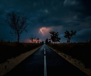 night, road, and clouds image
