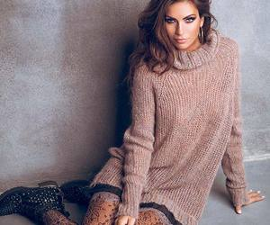 lace tights, wavy hair, and knitted dress image