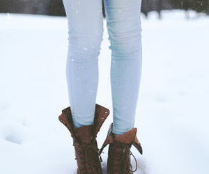 snow, winter, and boots image