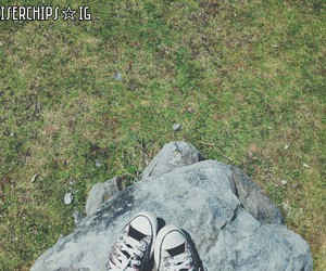 chuck taylor, grass, and sneakers image