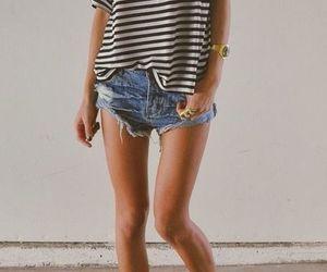 casual, denim shorts, and stylish image