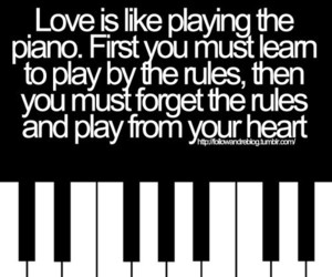 love, piano, and quote image