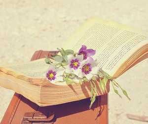 book, flowers, and travel image